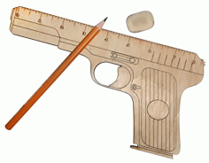 Wooden Gun Shaped Measuring Ruler Design Laser Cut CDR File