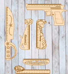 Wooden Gun Shaped Measuring Ruler Laser Cut CDR File