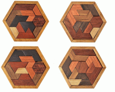 Wooden Hexagon Puzzle Game For Kids Educational Gift Laser Cut CDR File