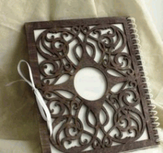 Wooden Laser Cut Notebook Decoration Cover Cnc Free Vector DXF File