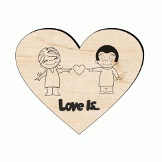 Wooden Love Magnet Laser Cut CDR File