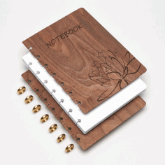 Wooden Notebook Cover with Lotus Flower Engraving Laser Cut CDR File