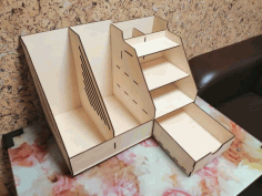 Wooden Office Organizer with Drawer Laser Cut Free CDR File