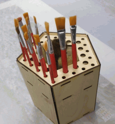 Wooden Paint Brush Holder Free Vector CDR File