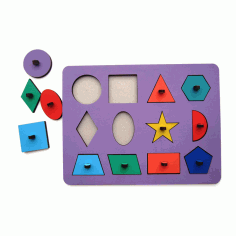 Wooden Peg Puzzle Toy For Montessori Kids Design 01 Laser Cut CDR File