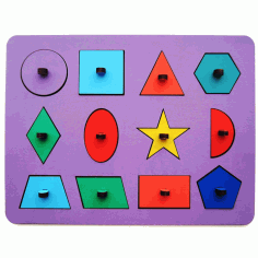 Wooden Peg Puzzle Toy For Montessori Kids Laser Cut CDR File
