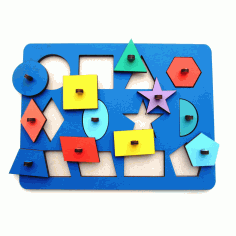 Wooden Peg Puzzle Toy For Montessori Kids Template Laser Cut CDR File