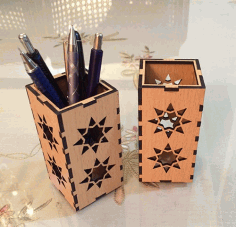 Wooden Pen Holder Organizer Laser Cut DXF File