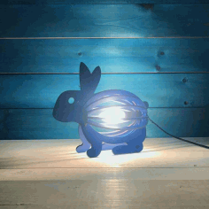 Wooden Rabbit Night Light Bunny Lamp Laser Cut Design CDR File