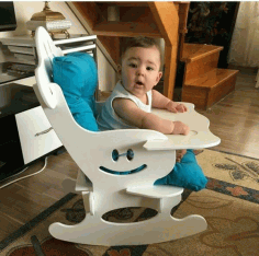 Wooden Rocking Baby Chair Laser Cutting DXF File
