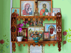 Wooden Shelf For Icons Christian Home Altar Laser Cut CDR File