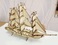 Wooden Ship Sailing Boat Laser Cut Free CDR File
