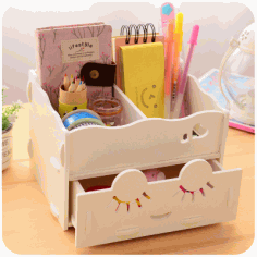 Wooden Storage Box Desk Organizer for Cosmetics Laser Cut Free CDR File