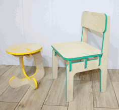 Wooden Table and Chair for Kids DXF File