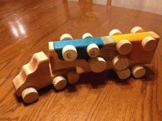Wooden Toy Truck With Removable Toy Cars Laser Cut Template Free CDR Vectors File