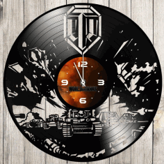 World Of Tanks Vinyl Record Wall Clock Laser Cut Vector CDR Vectors File