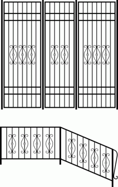 Wrought iron stair railing design vector art Laser Cut CDR File