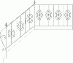 Wrought Iron Stairs Railing, Fence And Grilles Laser Cut CDR File