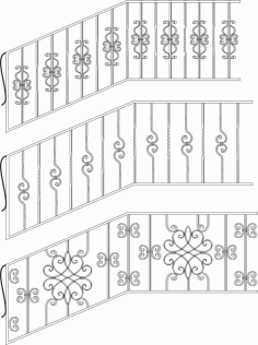 Wrought Iron Stairs Railing Laser Cut CDR File