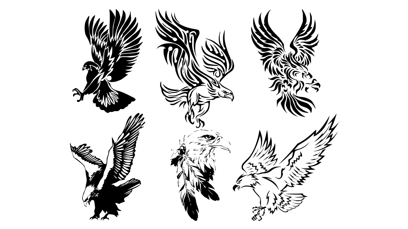 Awesome Tribal Eagle Tattoos Free Download CDR File