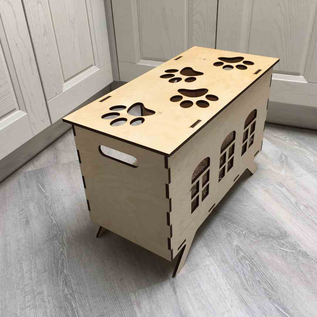 Cat House Template Laser Cut CDR File