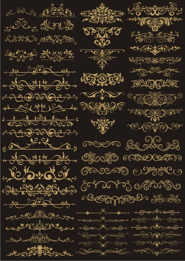 Decor Golden Border Elements Vector Set Free CDR Vectors File