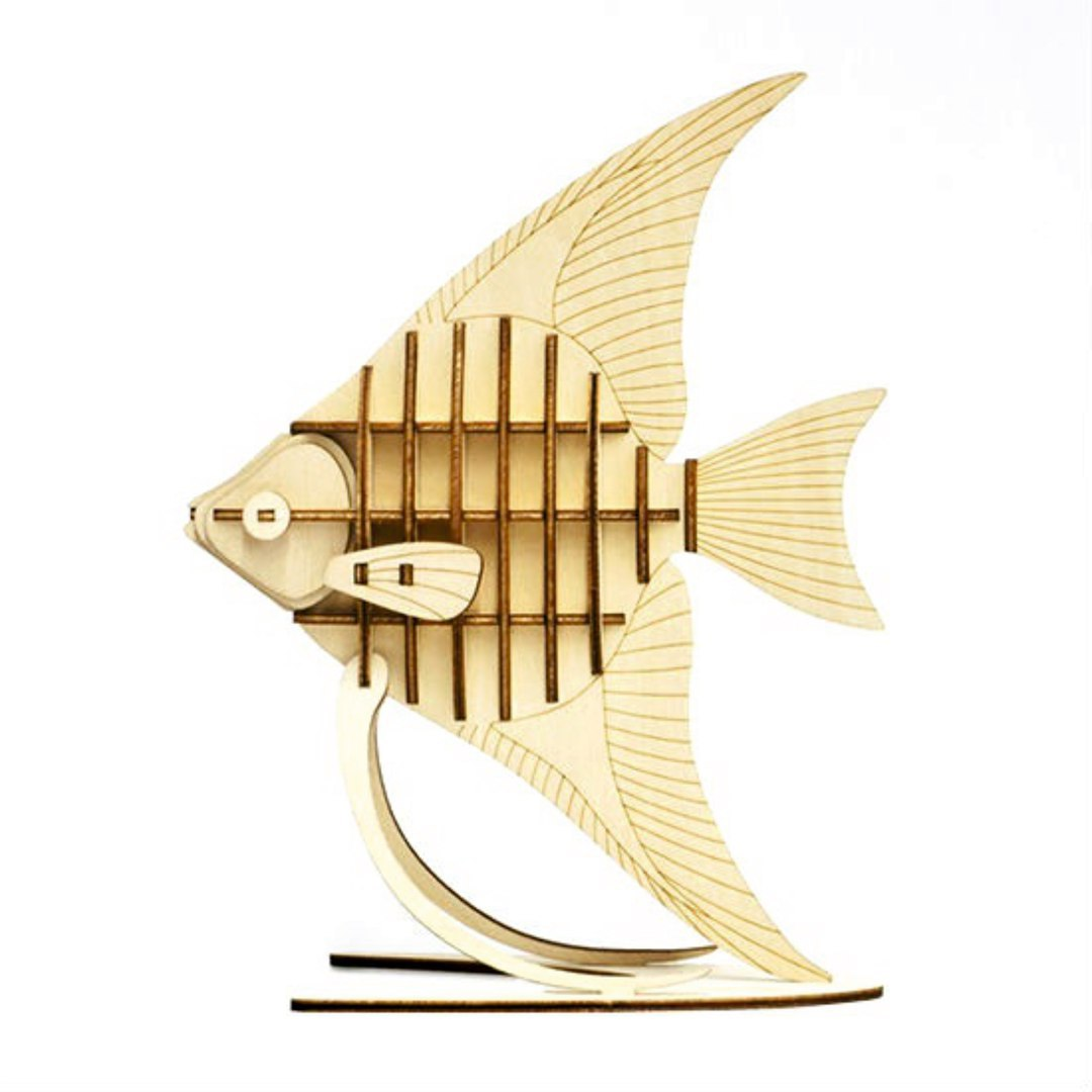 Engraved Wooden Fish on Stand CDR Vectors File