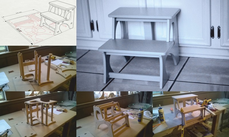 Laser Cut CNC Kids Step Stool Router Plans CDR File