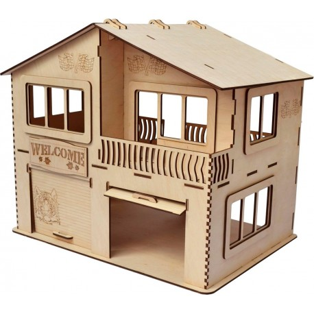 Laser Cut House Garage Template CDR File