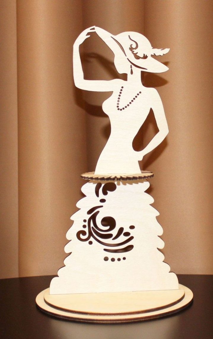 Laser Cut Lady In A Hat Fashion Napkin Holder CDR File