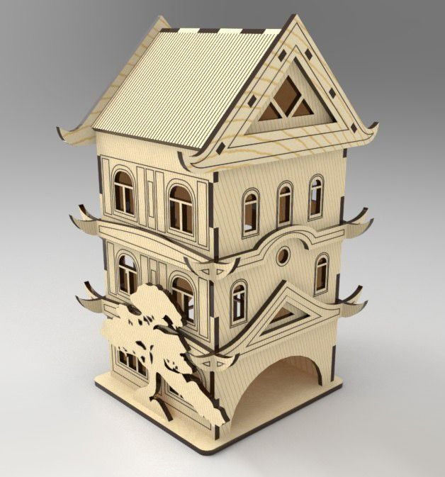 Laser Cut Pagoda Tea House Tea Bag Dispenser CDR File