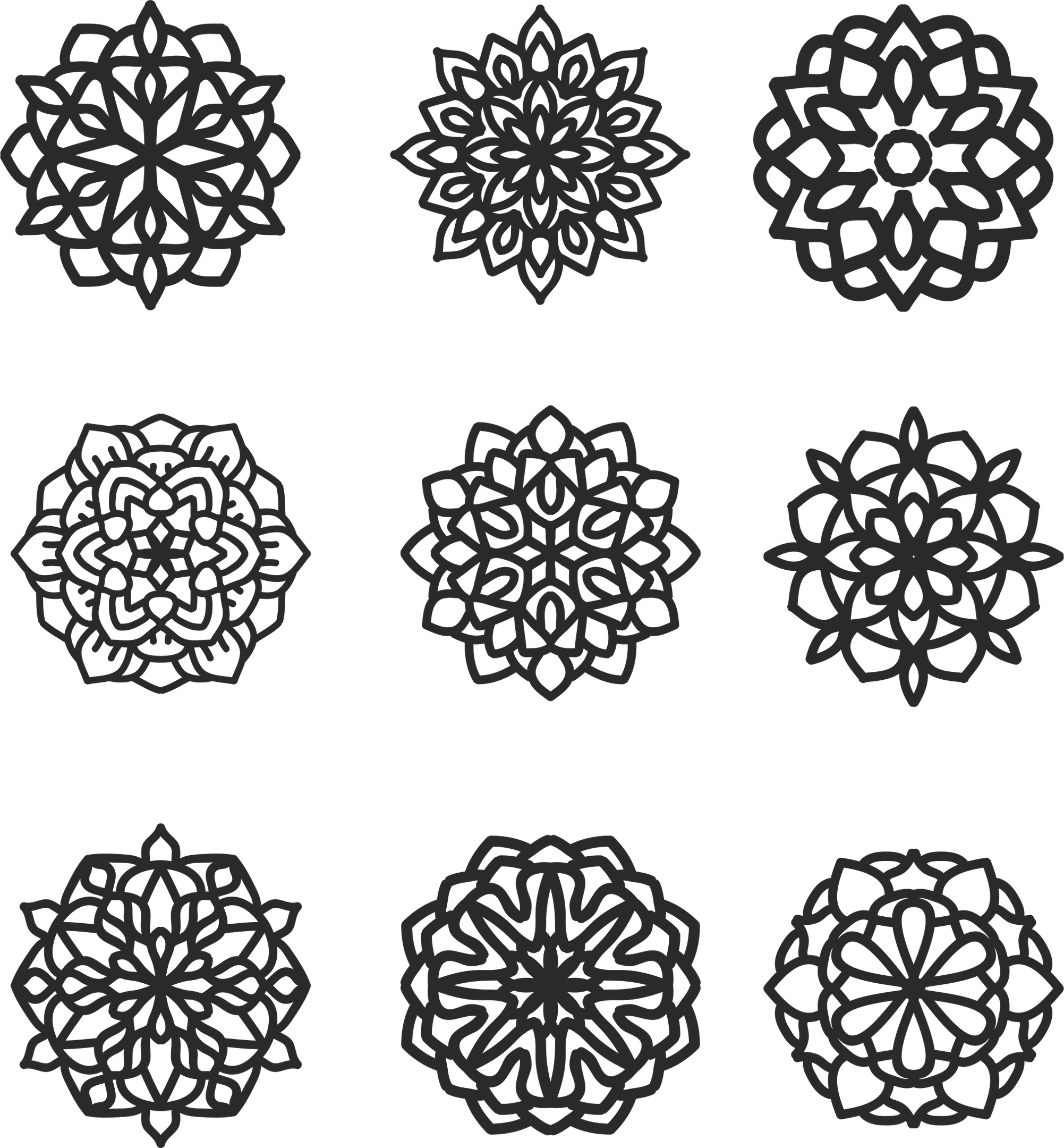 Mandala 9 Set Ornament CDR File