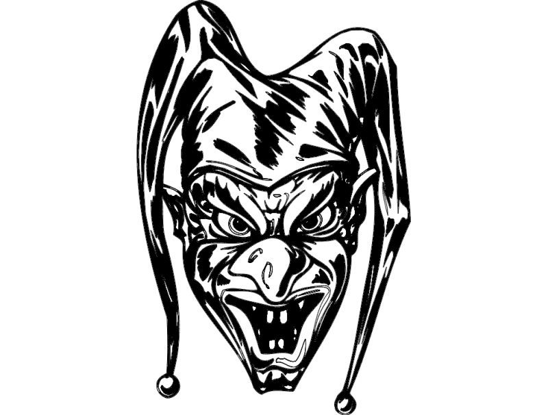 Scary Clown Design 19 Free Download DXF File