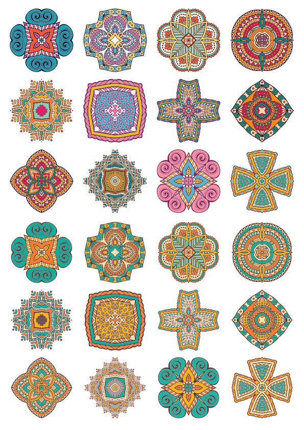 Set of Round Ornaments Mandala Vectors CDR File
