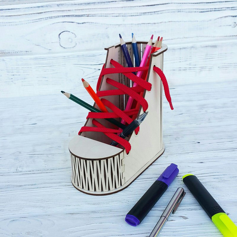 Shoes Desk Organizer Pencil Holder Laser Cut Free CDR File