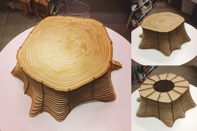 Tree Base Table Stool Chair Plywood CNC Laser Cut Free DXF File