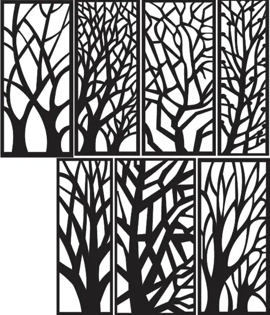 Tree Silhouette Vector for CNC DXF Vectors File