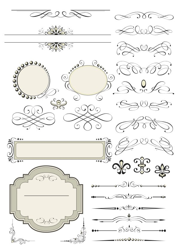 Vintage Set Decor Elements Free CDR Vectors File
