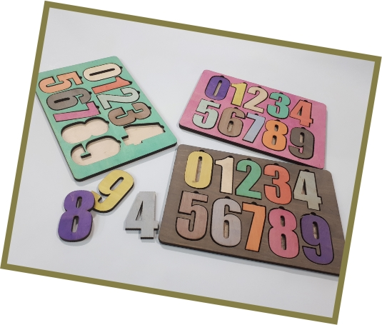 Wooden Peg Puzzle Toddlers Number Jigsaw Toys Educational Raised Puzzle Template Laser Cut CDR File